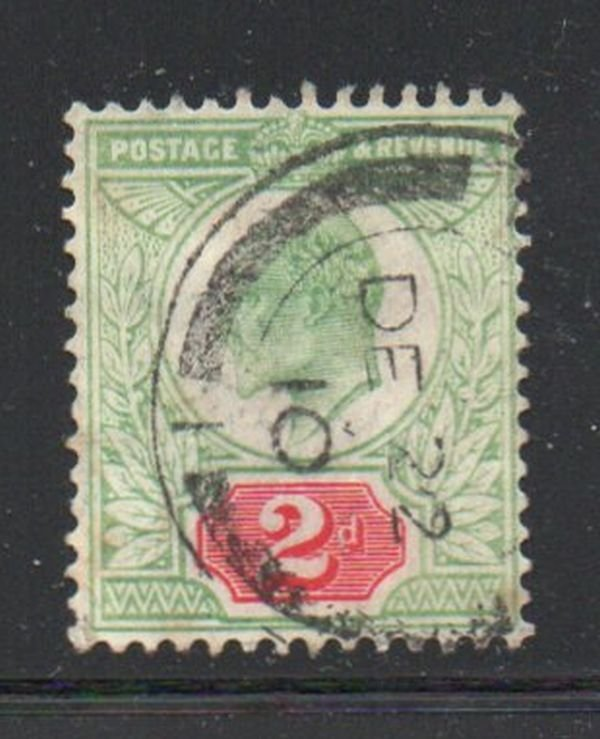 Great Britain Sc 130 1904 2d yellow green & carmine Edward VII stamp used