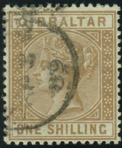 GIBRALTAR-1887 1/- Bistre.  A good used example Sg 14