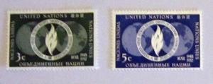 UN, NY - 13-14, MNH Set. Globe; Flame. SCV - $1.00