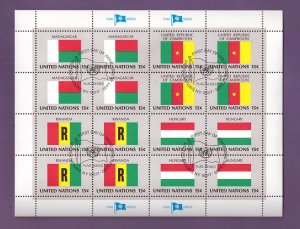 United Nations New York #340a cancelled 1980 sheet flags Cameroon  Rwanda