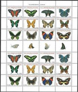 2004 Suriname Butterflies, Papillons, Farfalle complete Souvenir Sheet VFMNH!