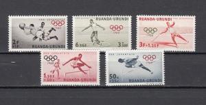 Ruanda-Urundi, Scott cat. B26-B30. Summer Olympics issue. Soccer shown.
