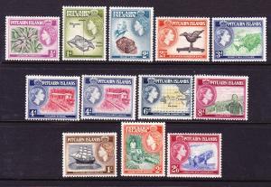 PITCAIRN ISLAND  1957-63  QEII  PICTORIALS  SET 12  MLH