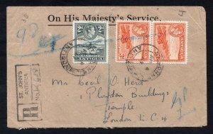 Antigua 1949 KGVI registered cover to London - Postal History