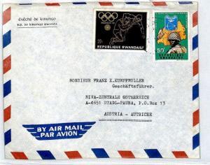 RWANDA Cover 1972 MUNICH OLYMPICS *Kibungo* Missionary Air Mail WRESTLING CM67