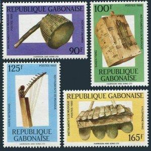 Gabon 638-641,641a,MNH.Mi 1005-1008,Bl.59. Traditional musical instruments,1988.