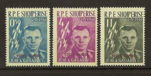 Albania 1962 Gagarin Air Opts SG691-693 MNH Cat£114