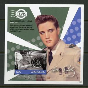 GRENADA 2018 ELVIS PRESLEY FIRST ARMY LEAVE  SOUVENIR SHEET MINT NEVER HINGED