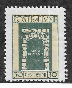 Fiume #177  30c  dark green  (MLH)  CV $2.40