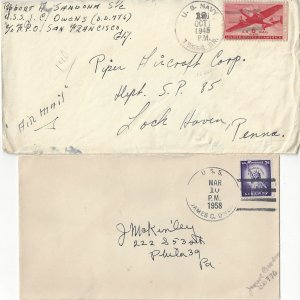 US Naval Cover USS James C. Owens  DD 776  1945 Sailor's Mail, 1958