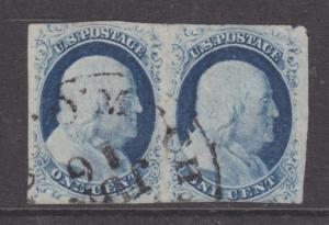 US Sc 9 used 1852 1c Franklin type IV Horizontal Pair, Pos. 62-63R1L