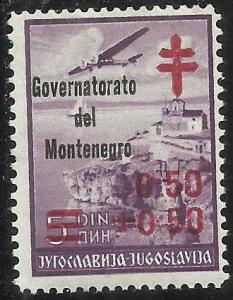 MONTENEGRO 1941 GOVERNATORATO CROCE ROSSA RED CROSS 0,50 + 0,50 SU 5 D MNH FI...