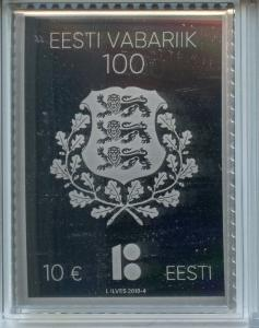 Estonia 2018 MNH Republic of Estonia Centenary 1v Silver Stamp Stamps