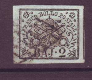 J21197 Jlstamps 1852 roman states used #3 papal arms