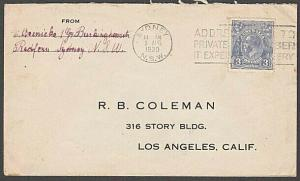 AUSTRALIA 1930 GV 3d on cover Sydney to USA................................55148