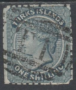 TURKS ISLANDS 1867 QV 1/- USED