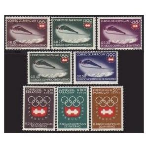 Paraguay 783-790,790a perf & imperf,MNH. Olympic Innsbruck-1964.Sky jump.