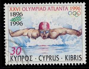 CYPRUS QEII SG909, 1996 30c swimming, FINE USED.