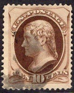 US Stamp #188 10c Brown Jefferson USED SCV $30