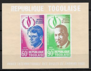 1969 Togo C103a Civil Rights Years MNH Imperf. S/S