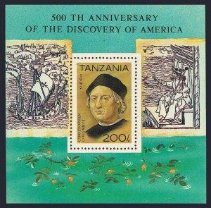 Tanzania 993,MNH.Michel 1305 Bl.189. Discovery of America-500,1992.Columbus.