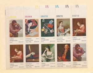 United States, 1530-37, UPU - Centenary Plate Block(10),MNH