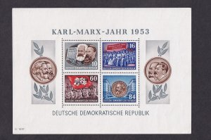 German Democratic Republic   DDR   #146a  MNH 1953 Marx sheet of 4 perf