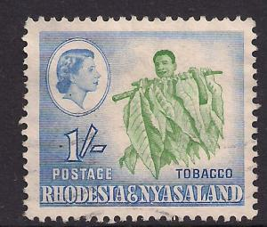 Rhodesia & Nyasaland 1959 - 62 QE2 1/-d  Tobacco Plant used  SG 25  ( A384 )