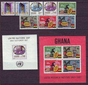 Z752 JLstamps 2 1967 & 8 ghana mnh sets + s/s #311-14a, 323-6a designs