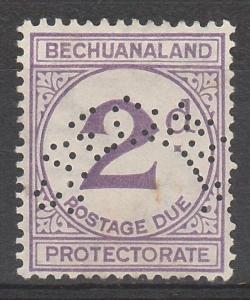 BECHUANALAND 1932 POSTAGE DUE 2D SPECIMEN NO GUM