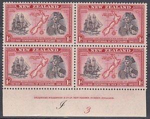 NEW ZEALAND 1940 Centenary 1d Captain Cook plate block MNH CP cat NZ$40.....K549