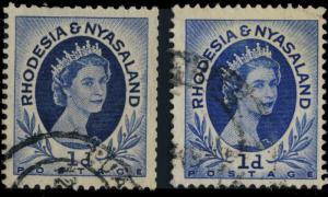RHODESIA & NYASALAND - 1955 SG2a 1d DEEP BLUE COIL STAMP with SG2 for comparison