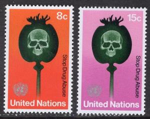United Nations  New York  #236-237  1973  MNH against drugs
