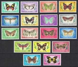 Norfolk Butterflies and Moths 17v COMPLETE SG#179-195 SC#201-217