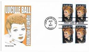 #3523, 34c Lucille Ball, Artmaster cachet, block of 4