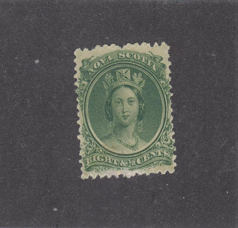 NOVA SCOTIA REF# KM7 # 11 FVF-MLH 81/2cts QUEEN VICTORIA GREEN CAT VAL $20
