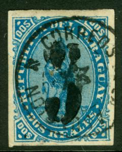 PARAGUAY 1878 LION - BLACK SURCHARGE handstamp  5c /2r blue  Sc# 5 used  VF