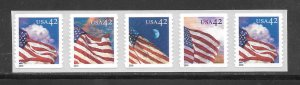 #4240-43 MNH Control #02500 on Back Strip of 5