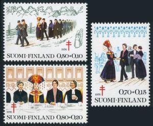 Finland B207-B209,MNH.Michel 790-792. Wedding Procession,Dance,Dinner.1976.