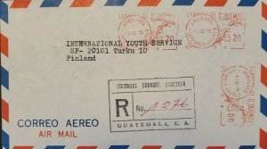 A) 1975, GUATEMALA, METER STAMP, QUETZAL, REGISTERED, CIRCULATED COVER TO FINLAN