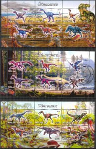 {g161} Malawi 2012 Dinosaurs 3 sh. Used / CTO Cinderella