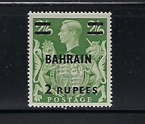BAHRAIN SCOTT #60 1948-49 2R ON 2/6SH I OVERPRINT- MINT HINGED