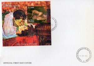 Sao Tome & Principe 2005 TOULOUSE LAUTREC Paintings s/s Imperforated in FDC