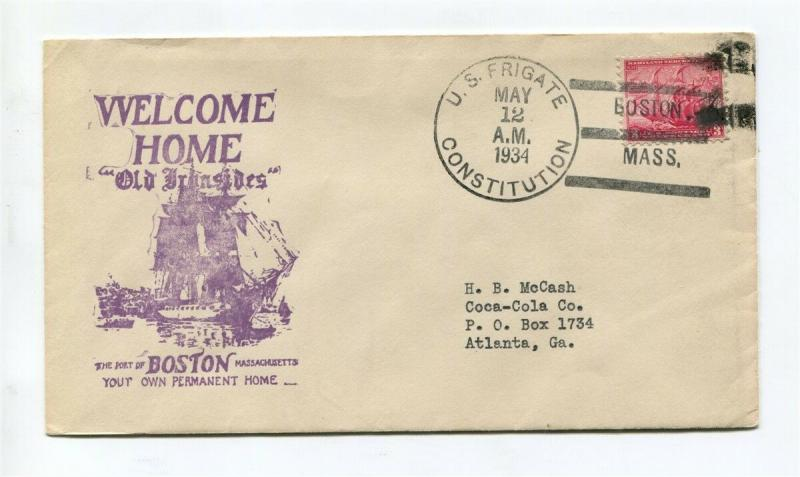 USS Constitution Old Ironsides - BOSTON SHIP Cachet - May 12 1934