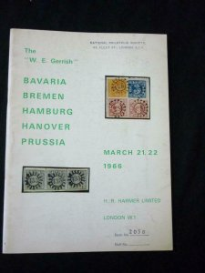HARMER AUCTION CATALOGUE 1966 BAVARIA BREMEN HAMBURG HANOVER PRUSSIA 'GERRISH'