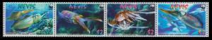Nevis WWF Caribbean Reef Squid Strip of 4v SG#2155-2158 SC#2380-2383