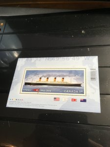 Canada #2535 Mint VF-NH 2012 Titanic $1.80 Souv. Sheet of 1. Popular!