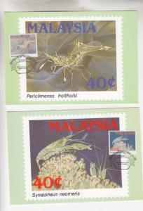 MALAYSIA, 1989 Marine Life set of 4 on separate Maximum Cards.