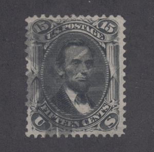 US Sc 98 used 1868 15c Lincoln F-Grill w/ Fancy Cancel, Cert.
