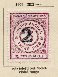 Cochin 1909 Early Issue Fine Mint Hinged 2p. Surcharged 322422
